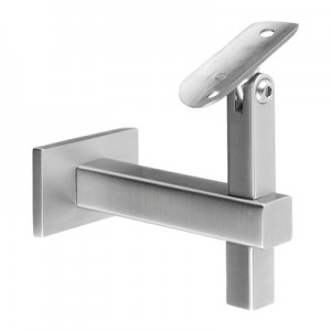 Q-Railing - Adjustable handrail bracket, Square Line, f. wall, handrail Dia 42.4 mm, stainless steel 304 interior, satin [PK2]- [13414504212]