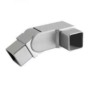 Q-Railing - Adjustable flush angle, Square Line, 90 degree, left, (0 degree-70 degree), tube 40x40x2 mm, st. steel 304 interior, satin [PK2]