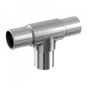 Q-Railing - T-connector, tube Dia 33.7 mm x 2 mm, stainless steel 304 interior, satin [PK2]