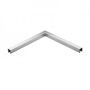 Q-Railing - Angled tube, 90 degree, horizontal, for cap rail, 40x40 x 1.5 mm, L=500x500 mm, st. steel 316 exterior, satin