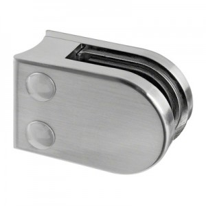 Q-Railing - Glass clamp, MOD 22, excl. rubber inlay, tube Dia 42.4 mm, zamak, stainless steel effect [PK4]