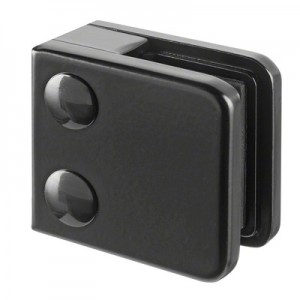 Q-Railing - Glass clamp, MOD 21, excl. rubber inlay, flat, zamak, black RAL 9005 [PK4]- [10210000031]