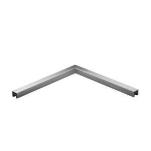 Q-Railing - Angled tube, 90 degree, horizontal, for cap rail, 40x40x1.5 mm, L=500x500 mm, alu, st. steel eff. IX