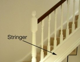 A Stair Stringer (also Called U0027stringu0027 Or U0027stringer Boardu0027) Is The Housing  On Either Side Of A Flight Of Stairs, Into Which The Treads And Risers Are  Fixed.