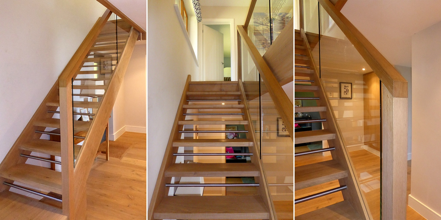 mixed material staircase, wood staircase, contemporary staircase, pear stairs