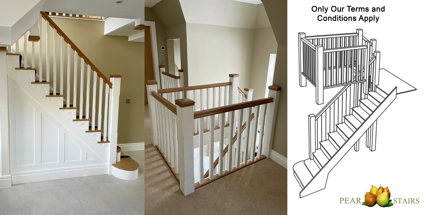 white primed and oak, staircase design, pear stairs staircase