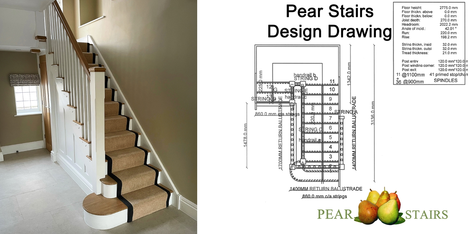 carpeted oak staircase, oak treads, timber staircase