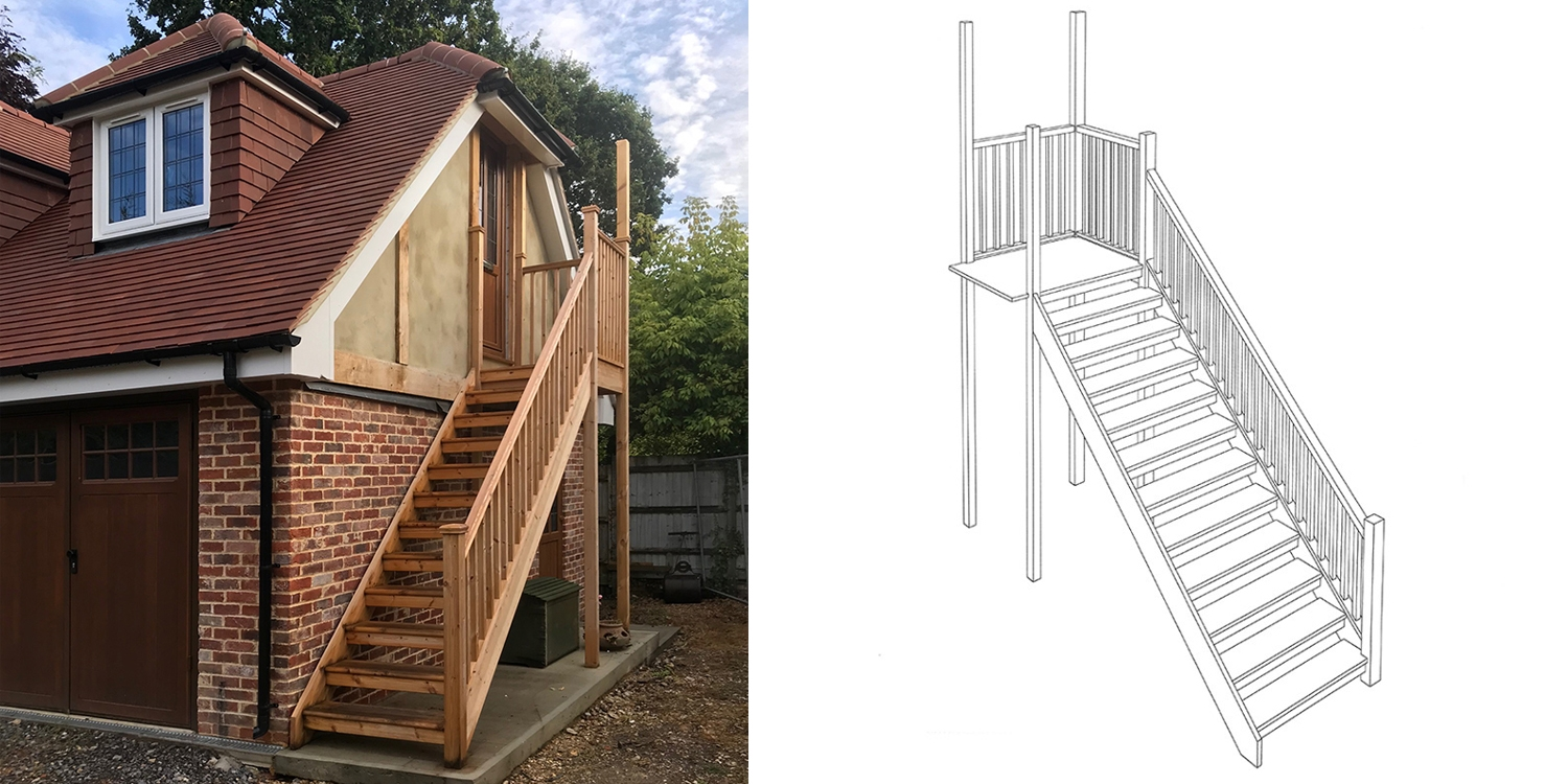 external staircase, wooden staircase, external wooden staircase pear stairs