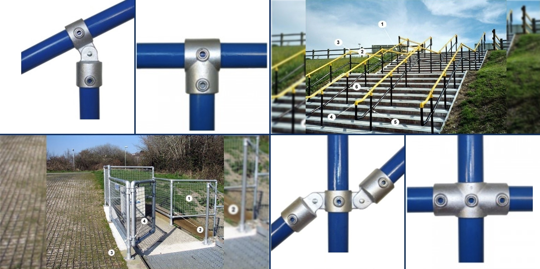 barrier handrail, interclamp, modular railing, galvanised steel railing