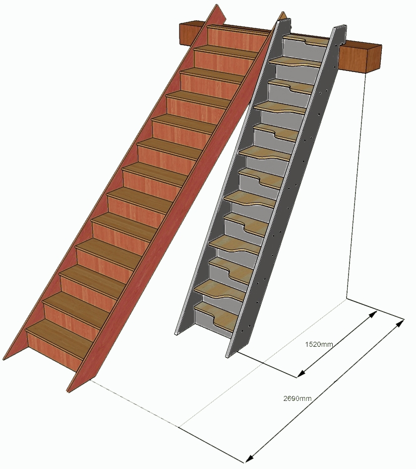 Spacesaver staircase compared to a standard staircase