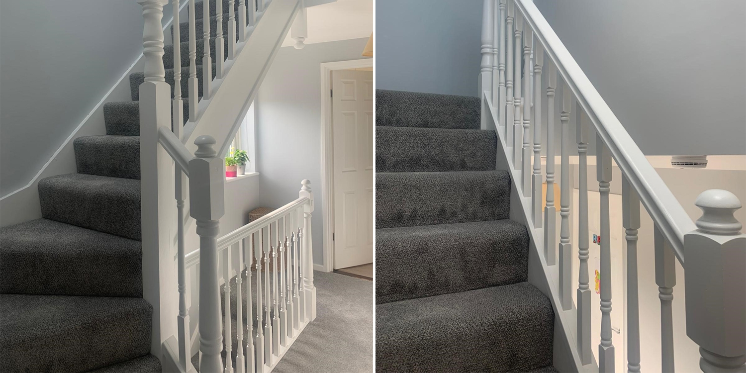 white primed staircase example