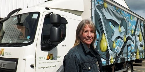 Clare with Pear Stairs lorry