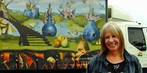 Clare with Heironymus Bosch design lorry