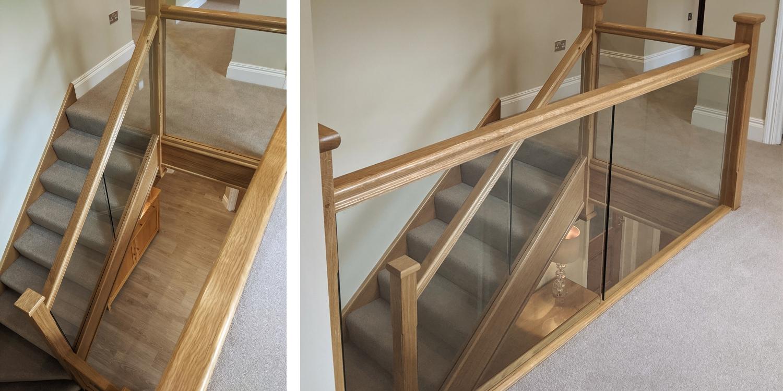 glass balustrade, oak handrail, uk staircase desigfn