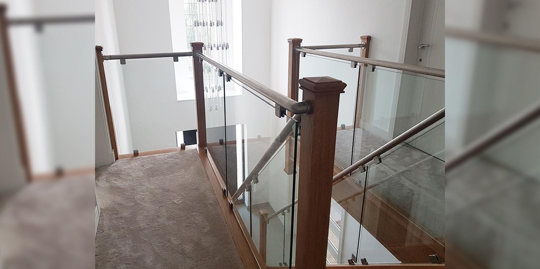 return balustrade, glass banister, pear stairs, uk staircase