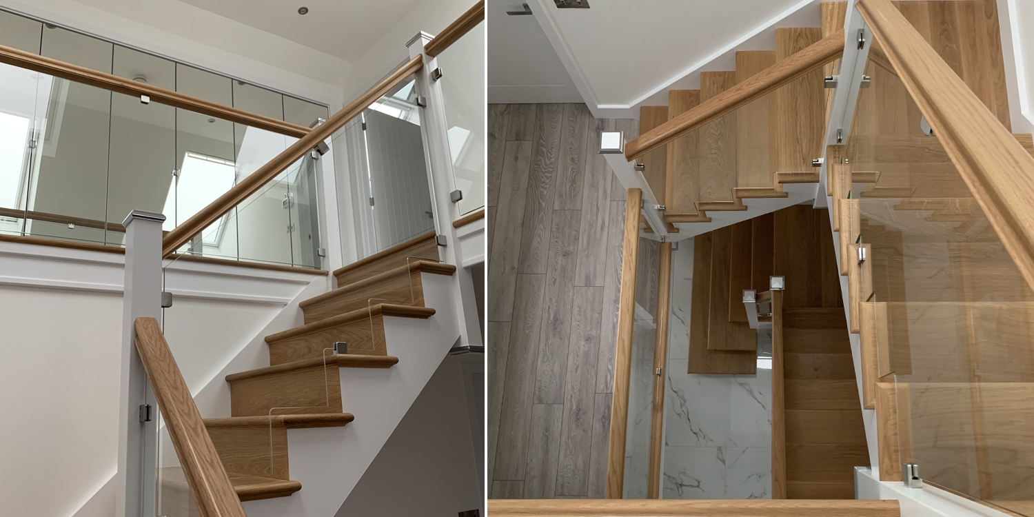 Pembrokeshire, glass balustrade, oak staircase, modern stairs