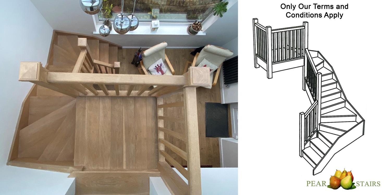 atrium stairs, oak winder stairs, atrium staircase