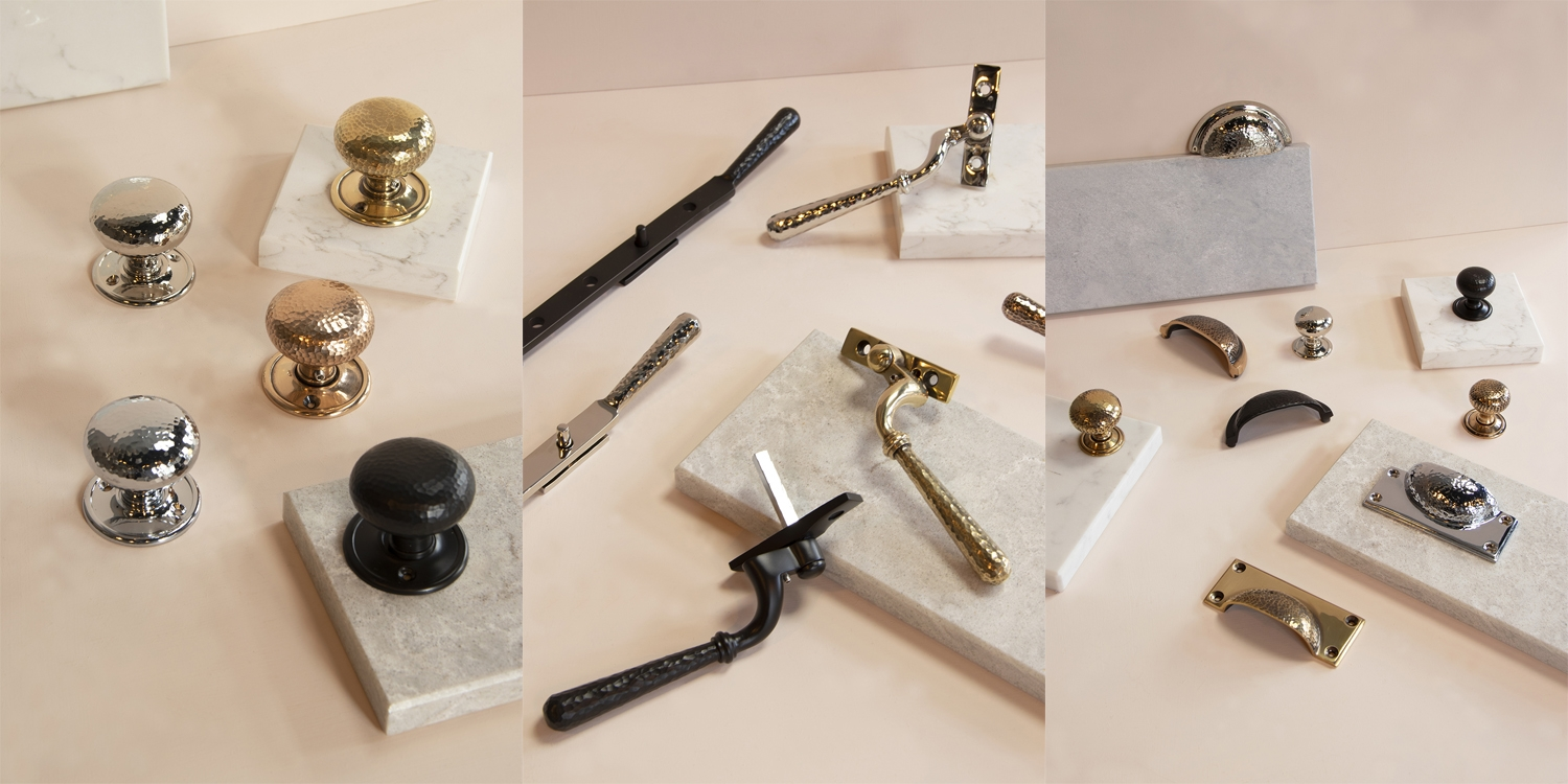 from the anvil, hammered ironmongery, window furniture, ironmongery uk