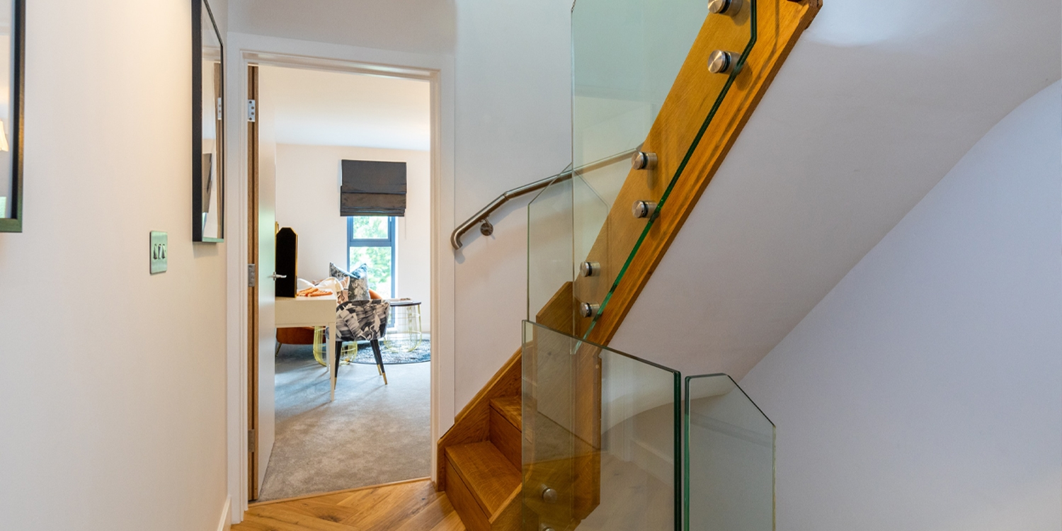 show home hallway, pear stairs,