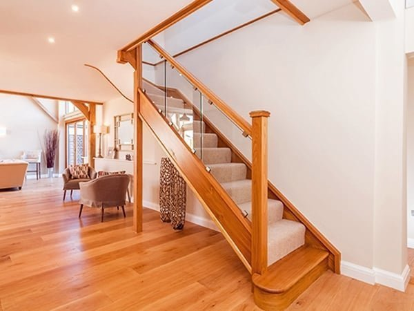 Oak and glass staircase by Pear Stairs
