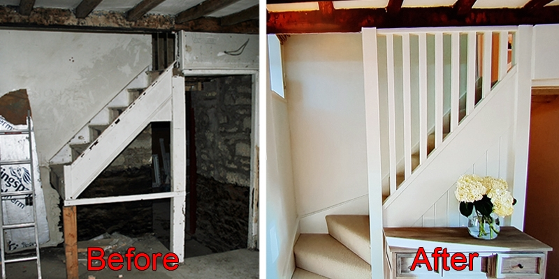 Pear Stairs supplied a replacement staircase for this near-derelict cottage