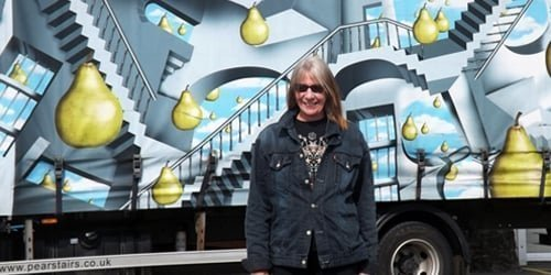 Clare Harper with Pear Stairs lorry