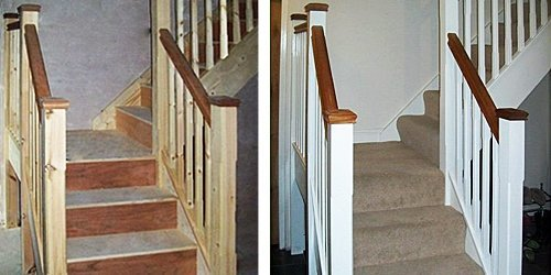 Softwood stairs before and after painting