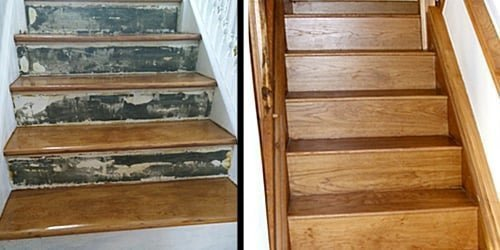 Old and refurbished stairs