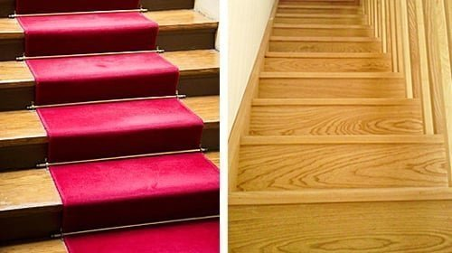 Carpeted and uncarpeted stairs