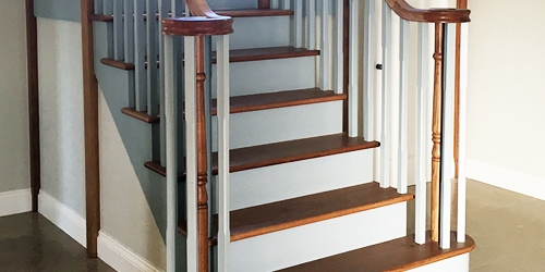 Ornate staircase with volute handrail, case study 668
