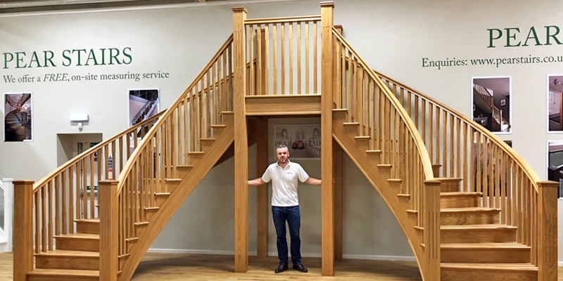 Andy Griffiths with a Pear Stairs curved oak staircase