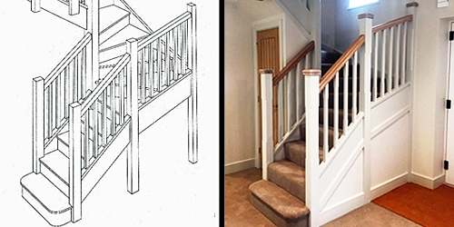 Design drawing of new staircase