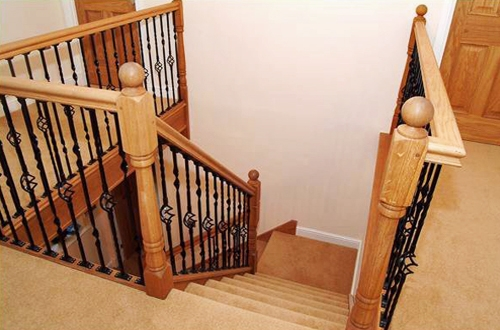New stairs with modern metal spindles