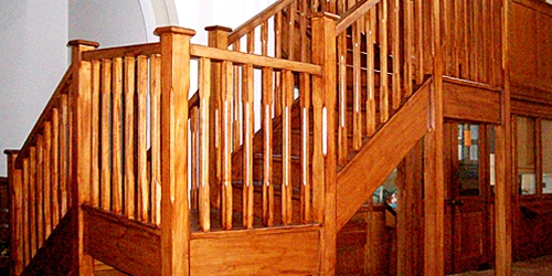 Oak staircase with stop-chamfered spindles by Pear Stairs