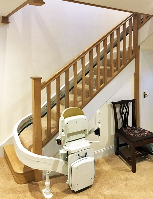 Stairlift installed on Pear Stairs oak staircase
