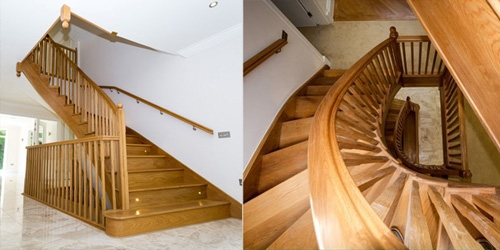 Large curved oak staircase for a three storey house
