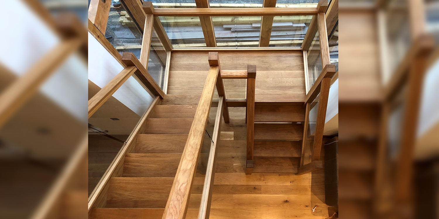 oak and glass staircase, wood and glass staircase, oak staircase by Pear Stairs, Staircase design wales