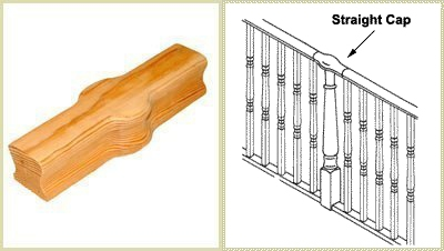 straight cap, pear stairs, continuous handrail