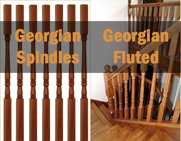 Georgian spindles, georgian fluted spindles, spindles at Pear Stairs