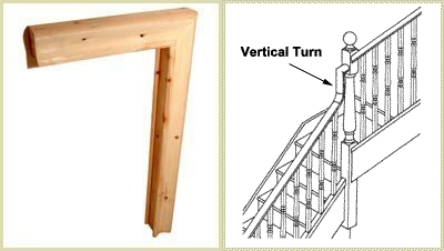 Staircase vertical turn, vertical turn, handrail turn pear stairs