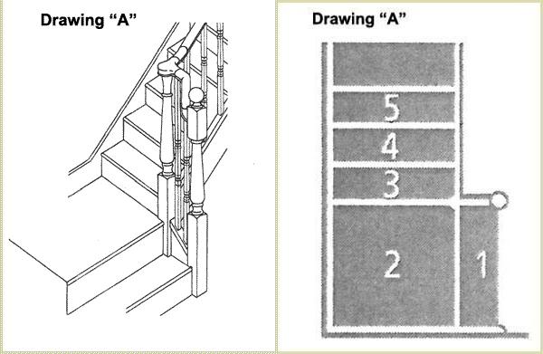 continuous handrail, dog leg handrail, handrail pear stairs