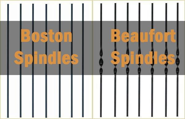 boston beaufort spindles, metal spindles, pear stairs, boston spindles, beaufort spidles