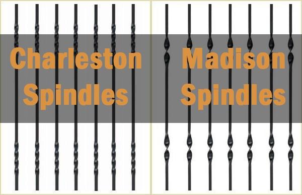 charleston spindles, metal spindles, madison spindles, pear stairs