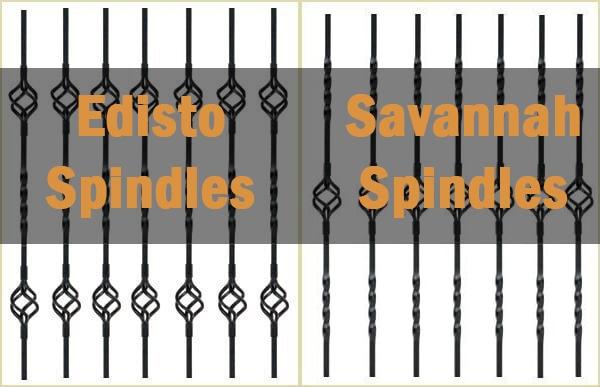 edisto spindles, metal spindles, savannah spindles, pear stairs