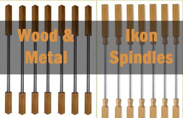 wood and metal spindles, metal spindles, wood spindles, staircase online