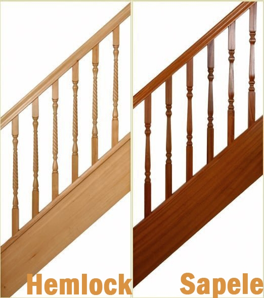 Hemlock and Sapele Spindles At Pear Stairs