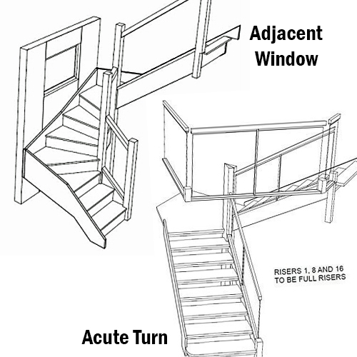 adjacent window. acute turn staircase, pear stais
