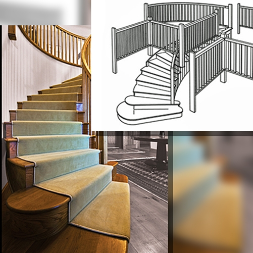 curved staircase, ornate staircase, pear stairs