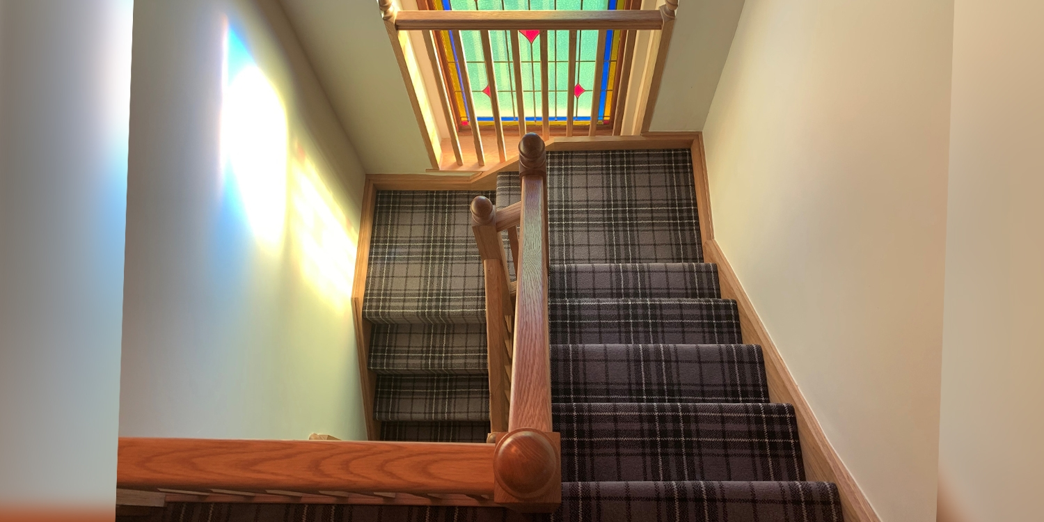 old chapel stained glass staircase, glass staircase, chapel stairs