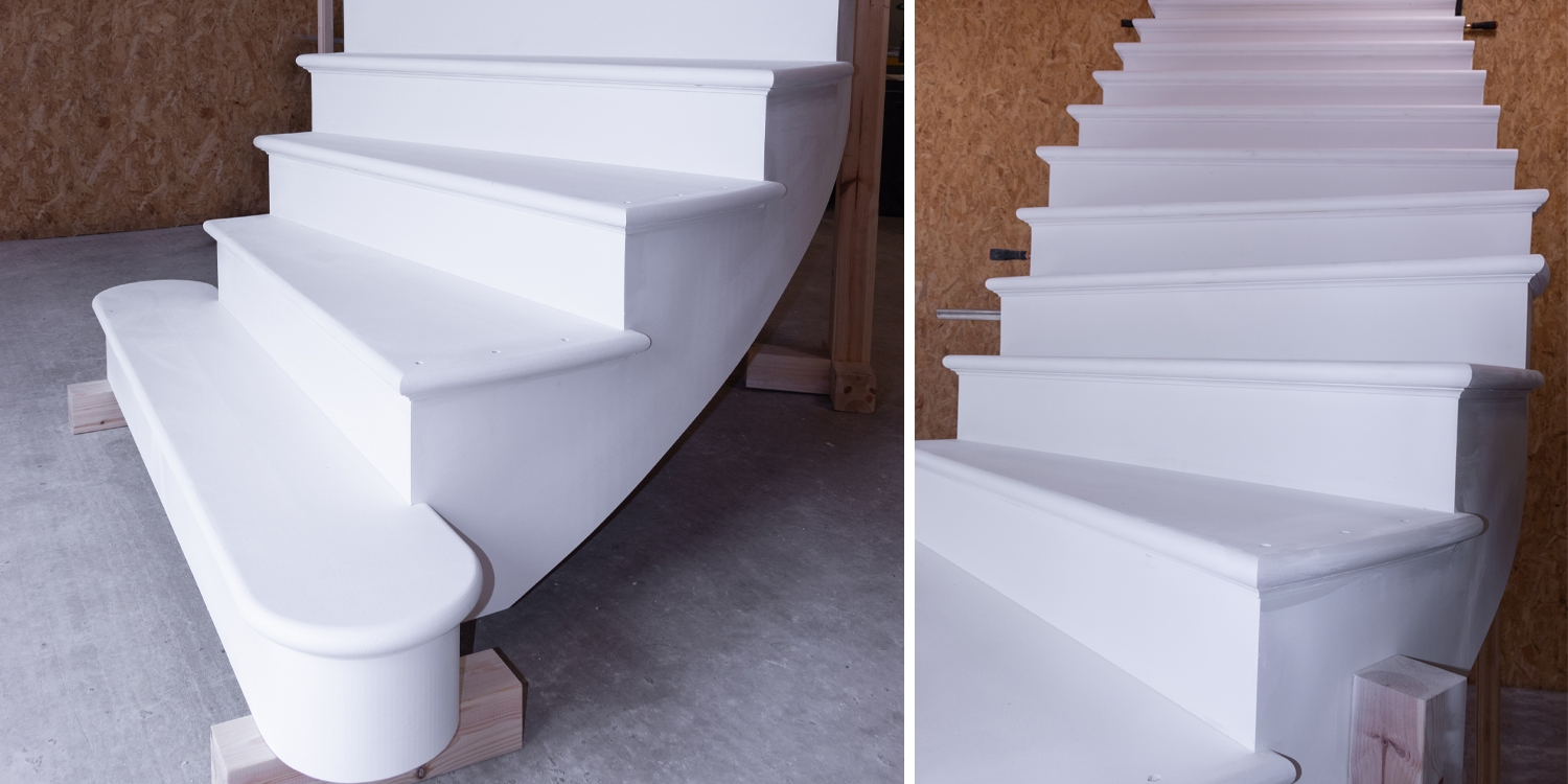 curved staircase, cut string, white staircase, Pear Stairs